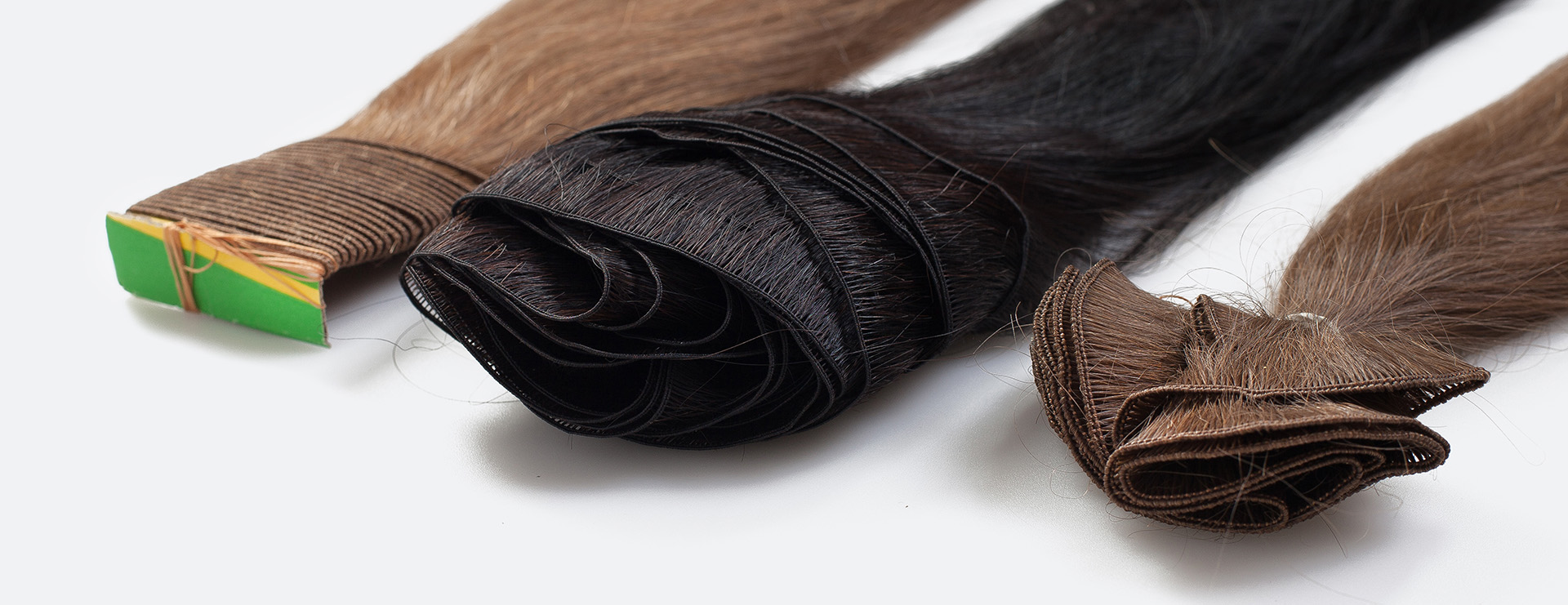 Customized Hair Extensions Hand Tied Hair Wefts Machine Sewn Hair